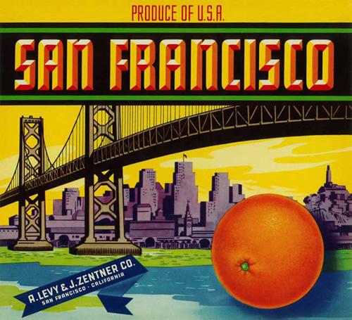 Étiquette d'oranges San Francisco (v.1950)