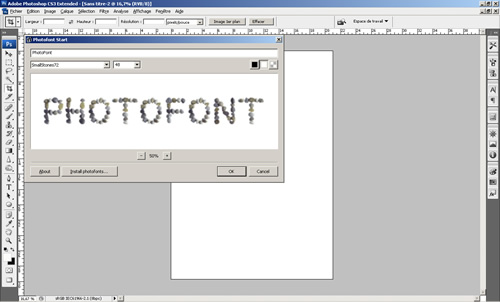 Aperçu du plugin PhotoFont sous Photoshop