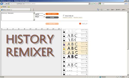 L'History Remixer est une application conçue pour mixer les 21 couches que proposent l'alphabet History créé par Peter Bil'ak. Le résultat obtenu est exporté en PDF pour être intégré dans un logiciel de création graphique.